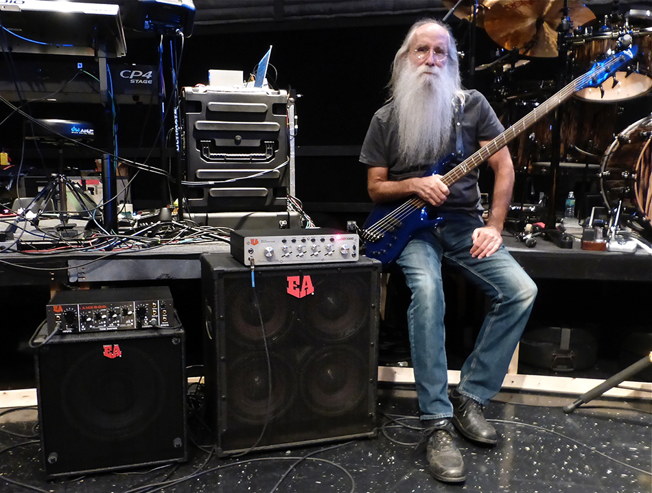 Leland Sklar in rehearsals with Phil Collins, September 2014.